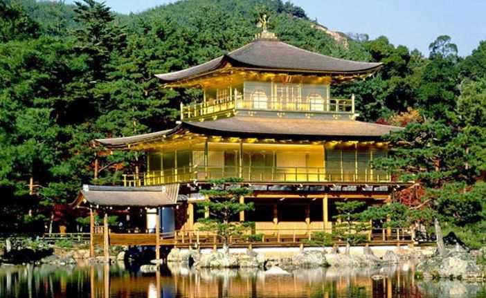 Золотой павильон или Кинкакудзи в Киото - буддийский храм города
